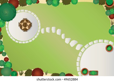 A vector illustration of a garden layout. Aerial view