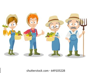 Vector Illustration of gardener family. Set of different farmers with various plants and poses.