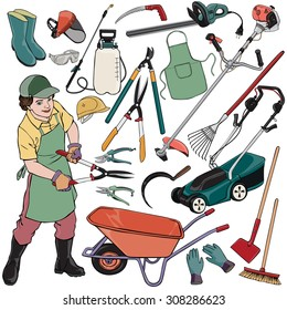 Vector illustration, gardener gear, cartoon concept, white background.