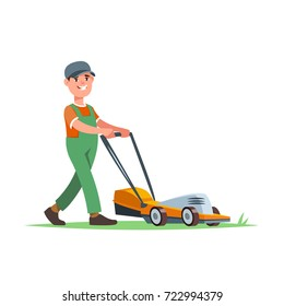 Vector illustration gardener with lawn mower isolated. Garden works and equipment