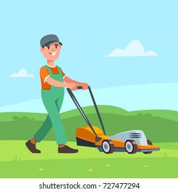Vector illustration gardener with lawn mower cuts grass on the lawn. Garden works and equipment
