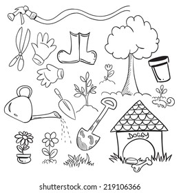 Vector illustration of gardening in doodle style