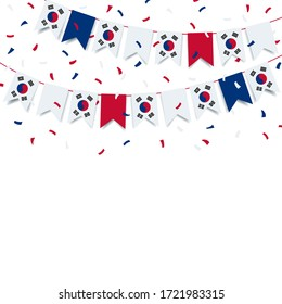 Vector Illustration. Garland from the flag of South Korea on a white background.