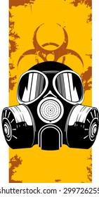 Vector illustration of gas mask on grunge  background
