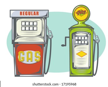 vector illustration of gas pumps