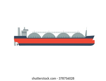 Vector illustration gas tanker, flat design isolated on white background.