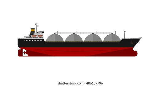 Vector illustration. Gas tanker isolated flat design