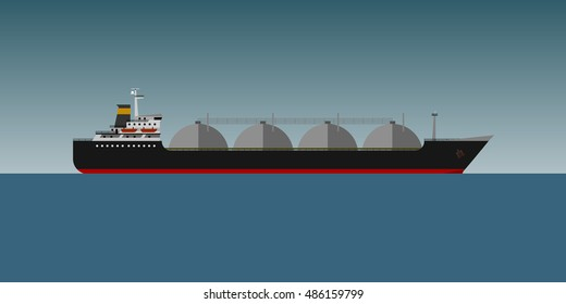 Vector illustration. Gas tanker in sea flat design