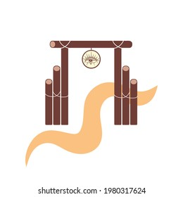 Vector illustration of the gate, the entrance to the American ranch, the road through the arch. Wooden gate with the emblem of the eyes, gate in the style of the wild west isolated.