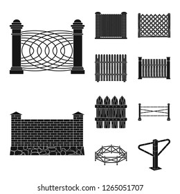 Vector illustration of gate and fence icon. Set of gate and wall stock vector illustration.