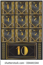 Vector illustration of a gatsby retro numbers for your party invitations, wedding table design, postcard templates