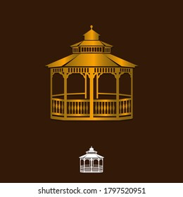 Vector illustration of gazebo isolated on white background. Can be used as a logo or design element. EPS 10.