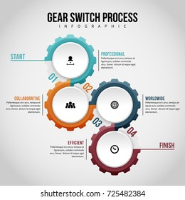 Vector illustration of gear switch process infographic design element.
