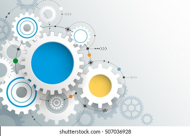 Vector illustration gear wheel. Abstract high tech technology and engineering background, Machine technology, futuristic concept. Vector abstract technology on light gray color background