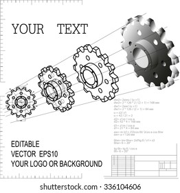 Vector illustration of a Gear wheel or Chain sprocket. From the drawing goes to solid three-dimensional models. Change the size, color, background, fill, and line thickness - easy one-click.