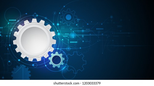 Vector illustration gear, wheel and circuit board, Hi-tech digital technology and engineering, Modern digital telecoms technology concept. Abstract futuristic on dark blue color background