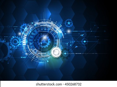 Vector illustration gear wheel, hexagons and circuit board, Hi-tech digital technology and engineering, digital telecoms technology concept. Abstract futuristic on dark blue color background