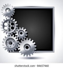 Vector illustration - gears and black chalkboard