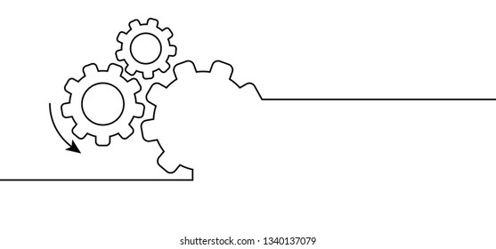 Vector illustration of gears with on blue background template Cogwheel gear mechanism Service icon gears cogs cog settings setting signs brain pictogam fun funny planning team work people edit icon