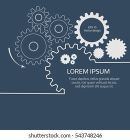 Vector illustration of gears with on the grey background. Infographic vector template