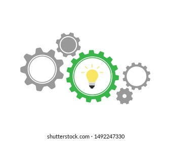 Vector illustration of gears with on the white background template. Gear vector icon. Web design icon. Gears and cogs symbol. Space for gear text.