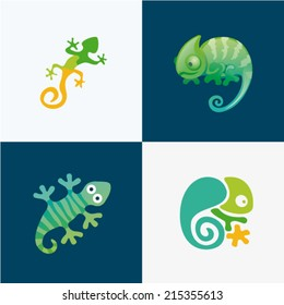 Vector illustration gecko lizard set