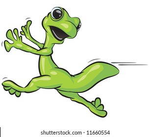 A vector illustration of a gecko running from something.
