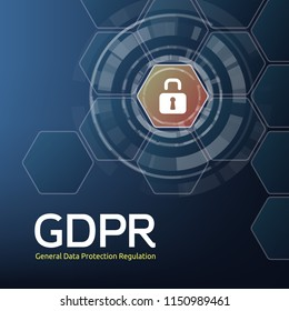 Vector illustration of General Data Protection Regulation or GDPR abbreviation and padlock on honeycombs background. Concept of privacy laws for users