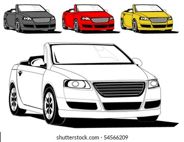 Vector illustration of generic sports car isolated on white, different colors - original design