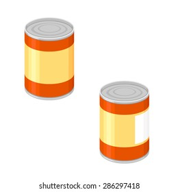 A vector illustration of a generic tin can. Tin Can Icon Illustration. Tinned goods preserved.