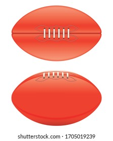 A vector illustration of a generic unbranded aussie rules football ball on an isolated whote studio background
