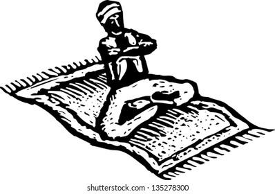 Vector illustration of Genie riding Magic Carpet