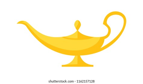 Vector illustration of genie's old lamp isolated on white.