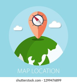 """Vector illustration of geo targeting & map location concept with pin """"map location"""" gps icon. travel icon."""