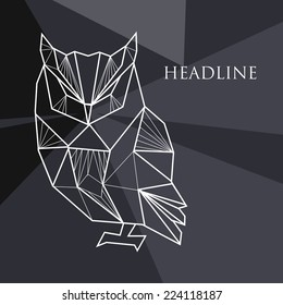 Vector illustration with geometric background and doodle owl