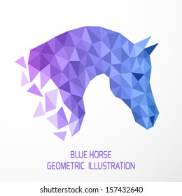 Vector illustration of geometric blue horse