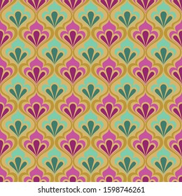Vector illustration of geometric leaves seamless pattern. Floral organic background. Wall paper, gift card, gift paper, background, texture, fabric, pattern, for web or print