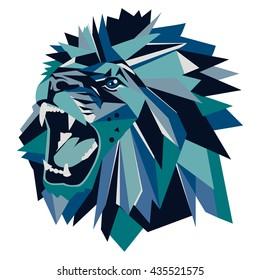 Vector illustration of geometric lion head