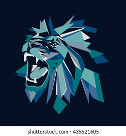 Vector illustration of geometric lion head on dark background. For t-shirts, posters, banners