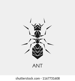 Vector illustration of a geometric polygonal ant. Abstract black symbol of the insect. Stencil for cutting out.