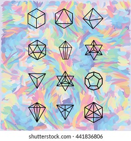 vector illustration / geometrical shapes on the abstract holographic background / black polygonal structures on the colorful background
