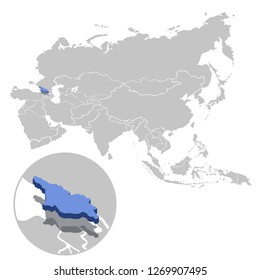 Vector illustration of Georgia in blue on the grey model of Asia map with zooming replica of country
