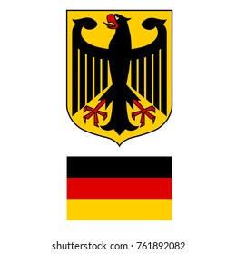 Vector illustration German coat of arms eagle and German flag isolated on white background. German symbol, sign