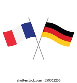Vector illustration German and French flag. Flags of Germany and France. Alliance and friendship