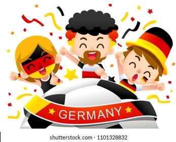 Vector illustration of Germany football fans characters celebrating