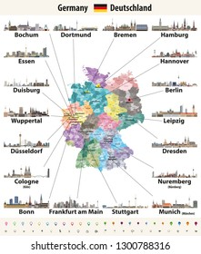 vector illustration of Germany high detailed map with largest cities skylines icons. All layers are labelled, editable and well organized