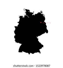 Vector illustration of Germany map with capital city Berlin.
