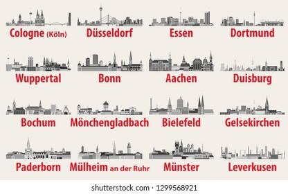 Vektorgrafik des Bundeslandes Nordrhein-Westfalen der größten Städte Skylines Symbole in Schwarz-Weiß-Farbpalette