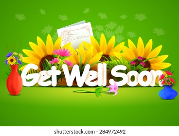 vector illustration of Get well soon wallpaper background