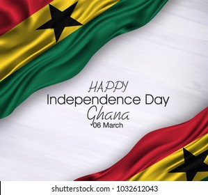 Vector illustration of Ghana Happy Independence Day 06 March. Waving flags isolated on gray background.